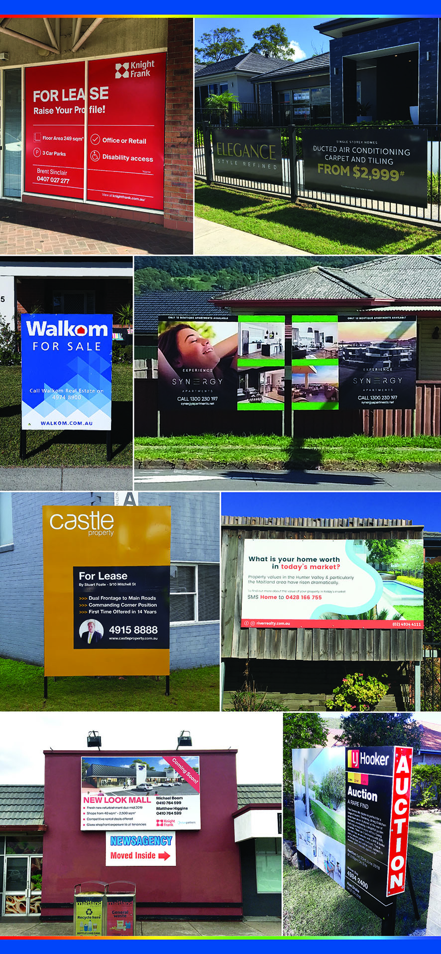 Castle real estate board advertising large installed